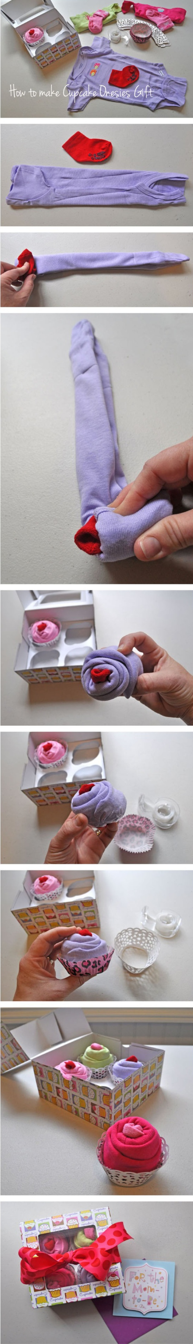 DIY: Cupcake onesie's! Cute baby shower gift idea!