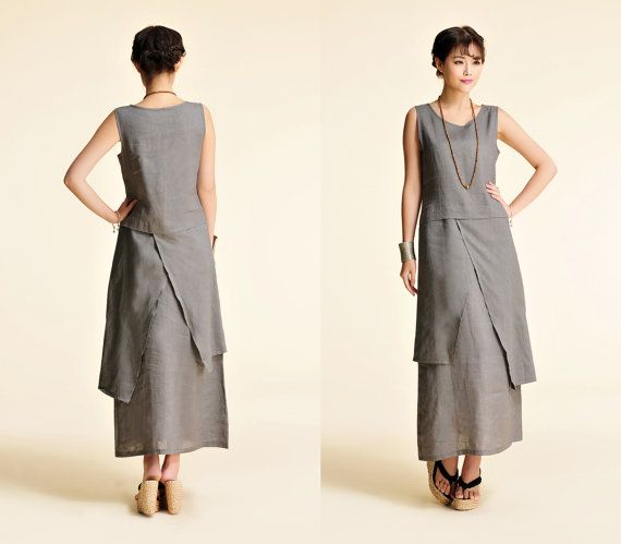 Plum Blossoms/ Asian style Linen Long Dress with its от Ramies, $96.00