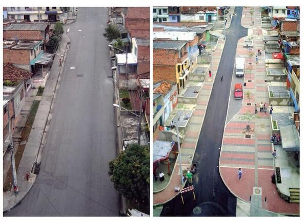 Relevant to #SD urban design lesson from Medellin: Transformation of streets-for-cars into a walkable public realm.