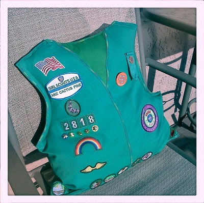 Girl Scout Vest Pillows. Fun way to display past awards Hmmm, interesting way for the girls to recycle old vest!