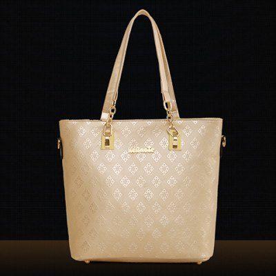 Graceful Metal and Embossing Design Women's Shoulder Bag