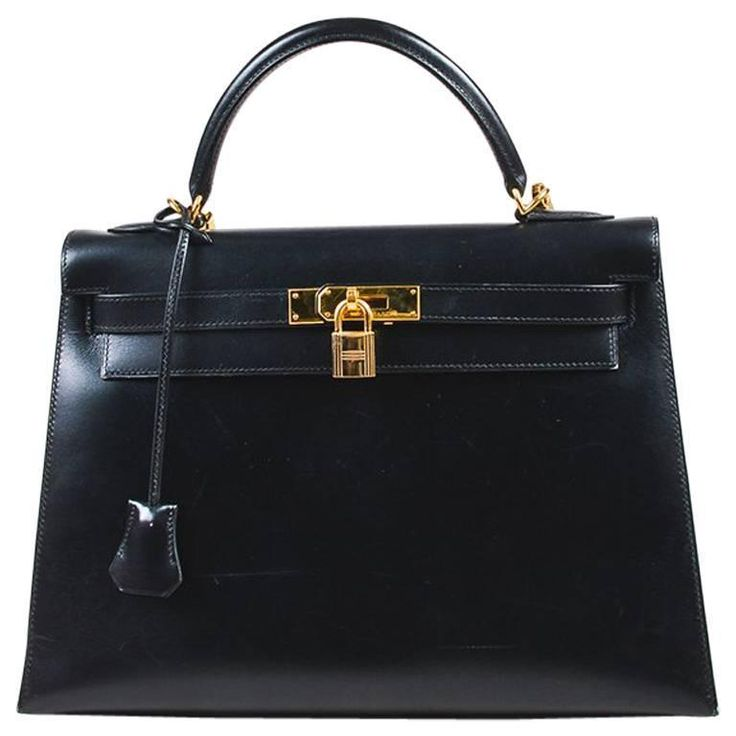 "Hermes Black Box Calf Leather Gold Hardware ""Kelly"" 32 cm Bag 