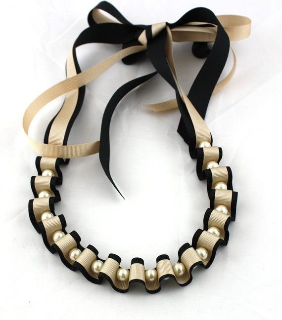 Ribbon and Pearl Necklace Black and Gold Ribbon and by maneggi