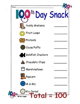 100th Day Snack School Stuff Pinterest Poster Food