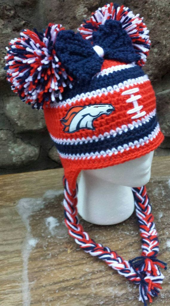 Denver Broncos Inspired Crocheted Beanie Broncos by AtTheLilyPond