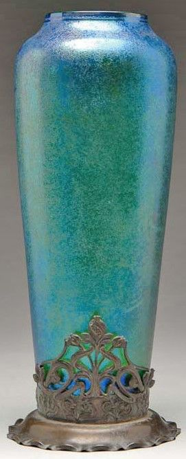 Bohemian Glass; Goldberg (Karl), Vase, Blue Iridescent, Metal Foot, 15 inch.