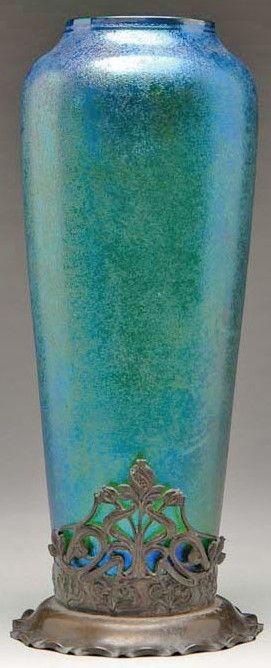 Bohemian Glass; Goldberg (Karl), Vase, Blue Iridescent, Metal Foot, 15 inch.
