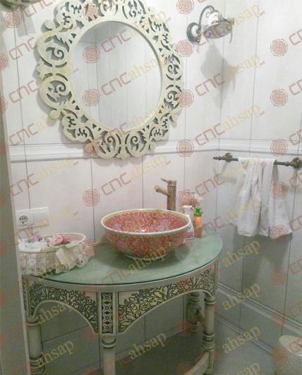 UYGULAMA GÖRSELLERİ | Cnchsap.NET Cnc Kesim Country Tarz Bombe Banyo Dolabı Ayna