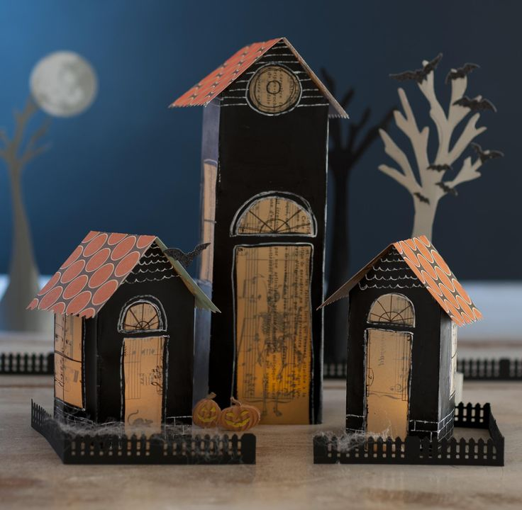 How To Make Cute Little Halloween Houses Out Of Paper Crafting Supplies