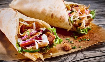 Doner kebab in a tortilla wrap