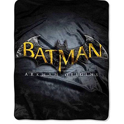 DC Comics Batman Arkham Logo Plush Throw Blanket - 40 x 50 @ niftywarehouse.com #NiftyWarehouse #Batman #DC #Comics #ComicBooks