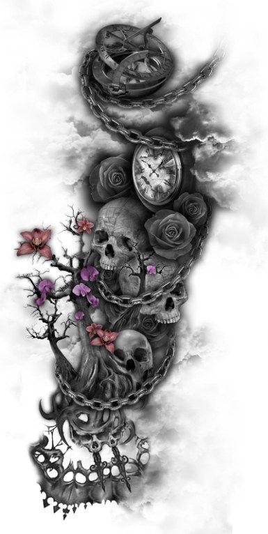 3dc86e510b1e479a896faa359c96da87 skull tattoos sleeve tattoos