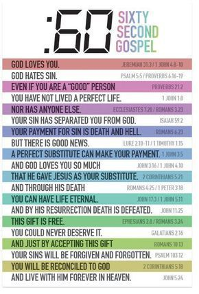 """Sixty Second Gospel God loves you. Jeremiah 31:3 / 1 John 4:8-10 God hates sin. Psalm 5:5 / Proverbs 6:16-19 Even if you are a """"good"""" person Proverbs 21:2 You have not lived a perfect life. 1 John 1:8"""