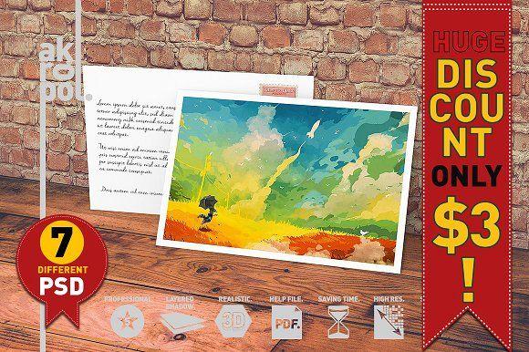 7-Postcard & Invitation Mock-up by akropol on @creativemarket