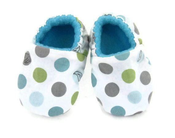 Baby Shoes Boy or GirlCotton and Fleece Soft Sole by FuzzyThreadz, $15.00