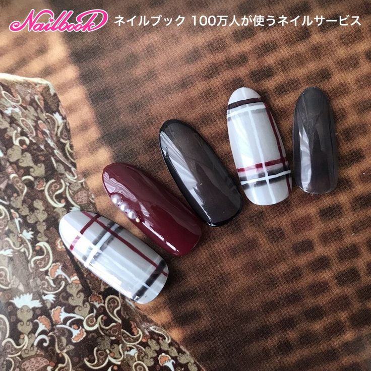 ミディアム/グレー/クリア/ボルドー/チェック - frankflowerのネイルデザイン[No.2500067]|ネイルブック