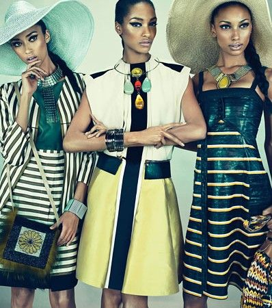"W Magazine - March 2012 / ""Feminine Mystique"" 8-page spread featuring models Jourdan Dunn, Anais Mali, and Jasmine Tookes."