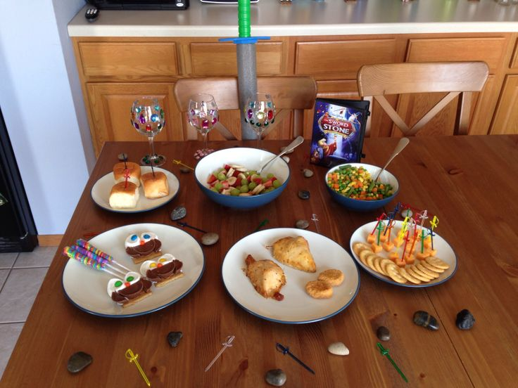 Sword in the Stone Dinner - Arthur's Chicken, Sir Kay's Vegetables, Madam Mim's Fruit, Medieval Cheese and Crackers, Sword in the Stone Rolls, Merlin's Magic Wands and Archimedes' Smores - Sword in the Stone Movie Night - Disney Movie Night - Family Movie Night