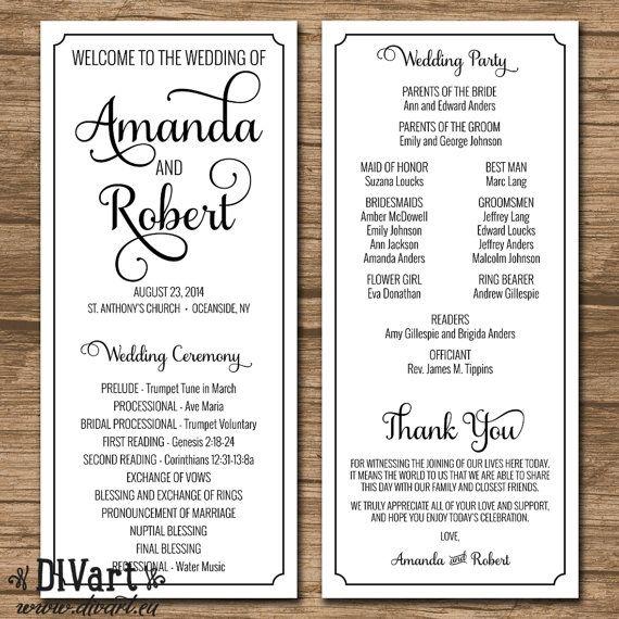 Elegant Wedding Program, Ceremony Program - PRINTABLE files - rustic wedding, garden wedding, simple and elegant, kraft paper - Laura