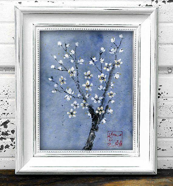 White Plum Blossom Original Chinese Brush Sumi-e Painting