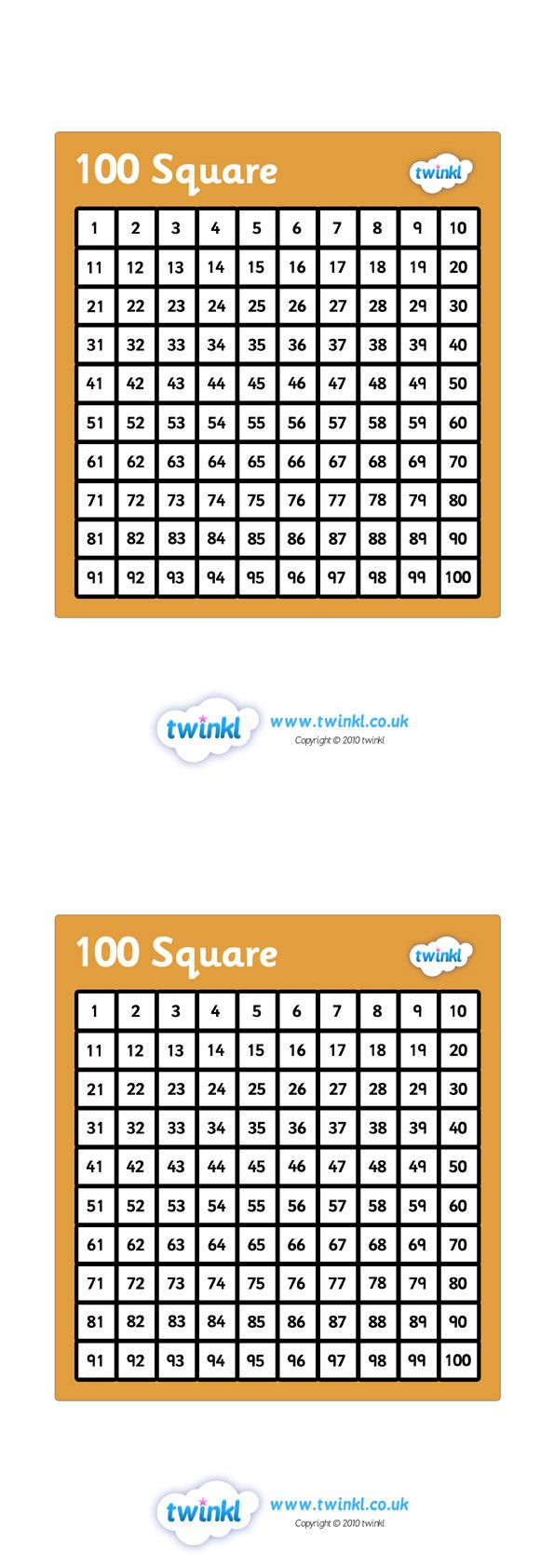 Twinkl Resources >> Hundred Square  >> Classroom printables for Pre-School, Kindergarten, Primary School and beyond! number square, hundred square, counting, numbers 1-100, square numbers,