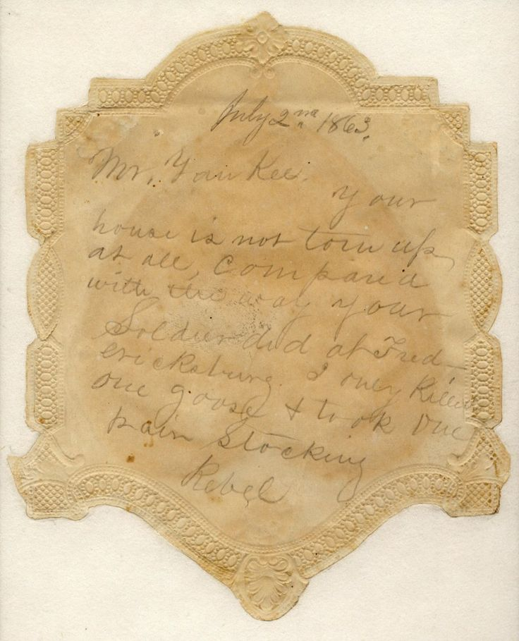 Note from a confederate soldier to a Yankee, found in a home in Gettysburg after armies left.Civil Wars, Pairings Stockings, Conf Soldiers, Wars Note, American Civil, Wars Valentine, Confedate Soldiers, Union Soldiers, Confederate Soldiers