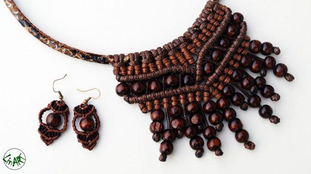 LINART: Etno naszyjnik i kolczyki z drewnianymi koralikami...