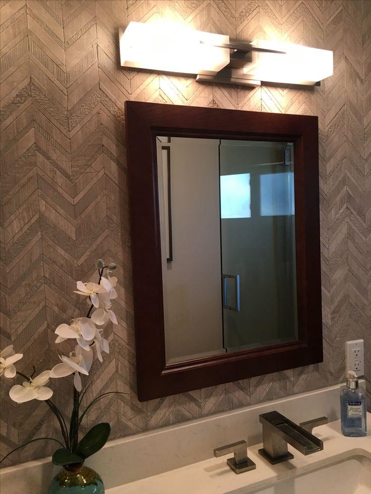 Bathroom remodel; herringbone tile; chevron tile