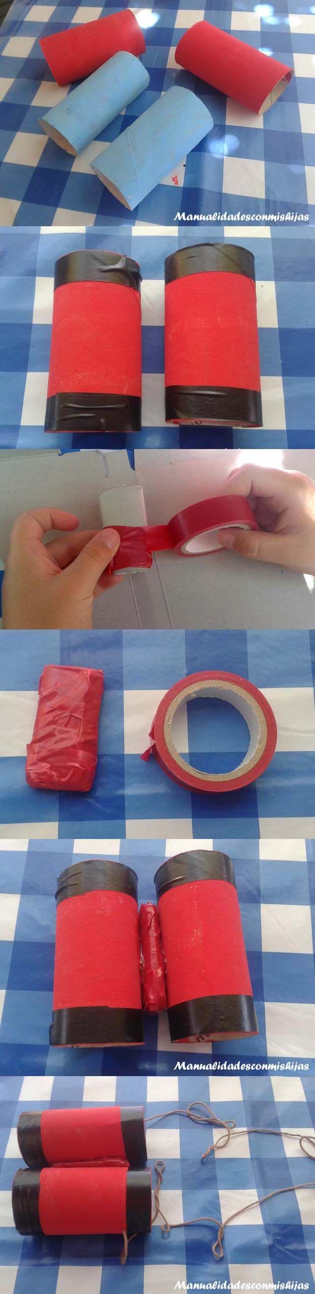 Manualidadesconmishijas: Catalejos y prismáticos con tubos de cartón y témperas