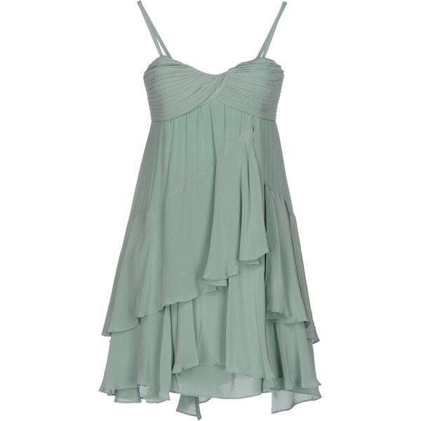 Atelier Fixdesign Short Dress ($145) ❤ liked on Polyvore featuring dresses, light green, sleeveless short dress, deep v-neck dress, green pleated dress, pleated mini dress and zip dress