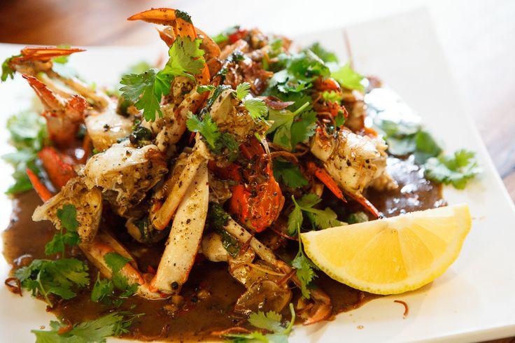 Black pepper crab with Thai basil and lemon
