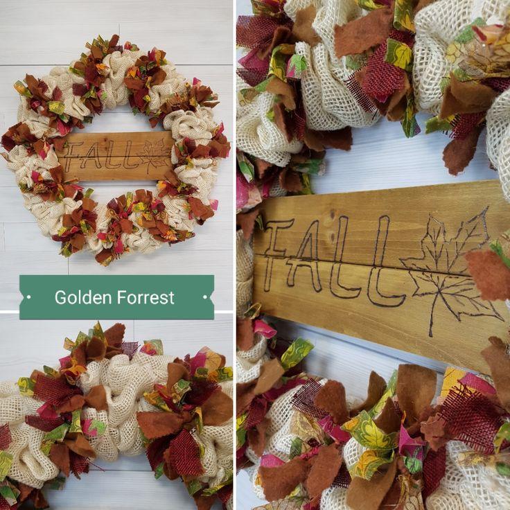 Fall Burlap Wreath  #goldenforrest #goldenforrestcreation #fall #doordecor #wreath #burlapwreath #burlap #ragwreath #woodburning #doordecor #seasonaldecor