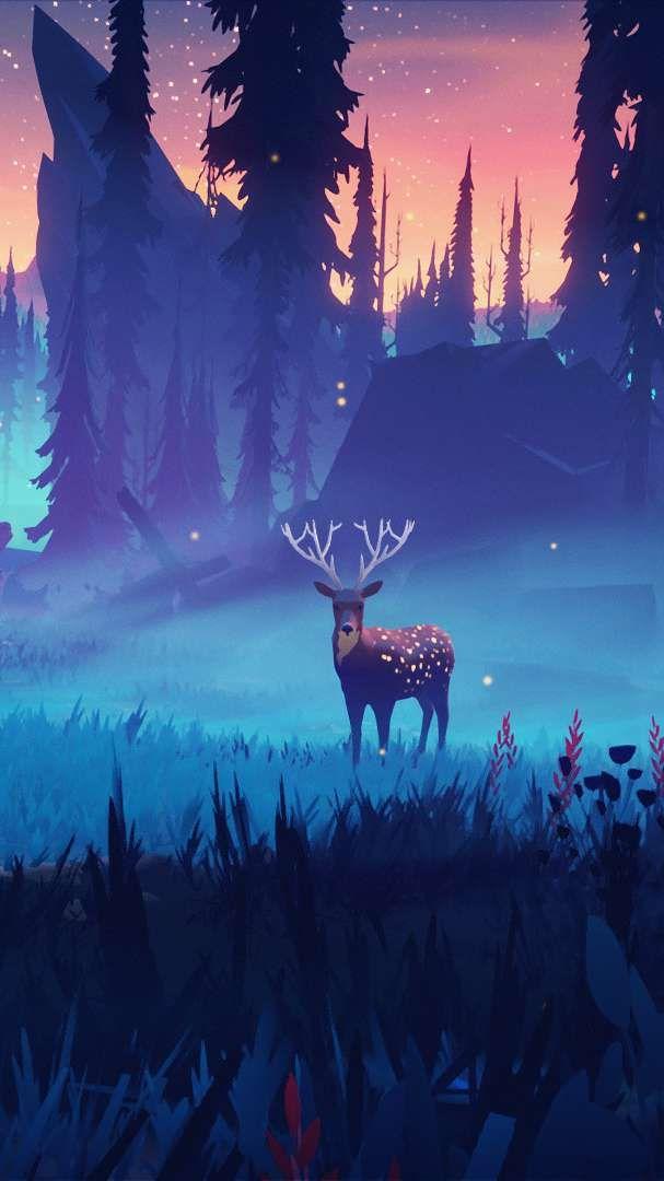 Deer In Nature Art Iphone Wallpaper Abstract Art Wallpaper Art Wallpaper Deer Wallpaper