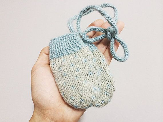 Knit Baby Mittens with Cord Polka Dot Mittens Gray by turnipanddoe, $22.00