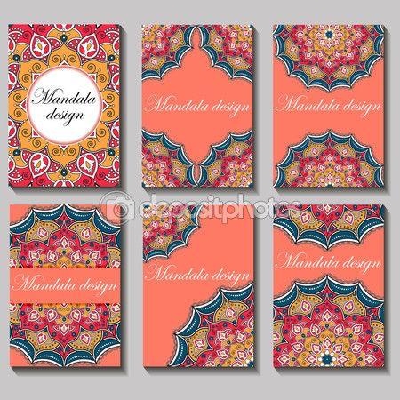 Baixar - Conjunto de vetor vintage cartão de visita. Ornamentos e padrão de mandala floral — Ilustração de Stock #113069344