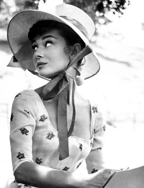 Audrey Hepburn during the filming of War and Peace, 1955.