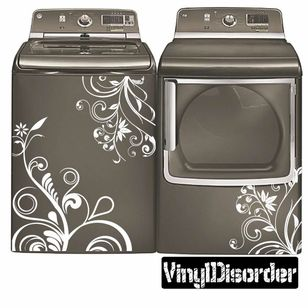 Washing Machine Decal - Floral Design - Vinyl Decal - Car Decal - 03