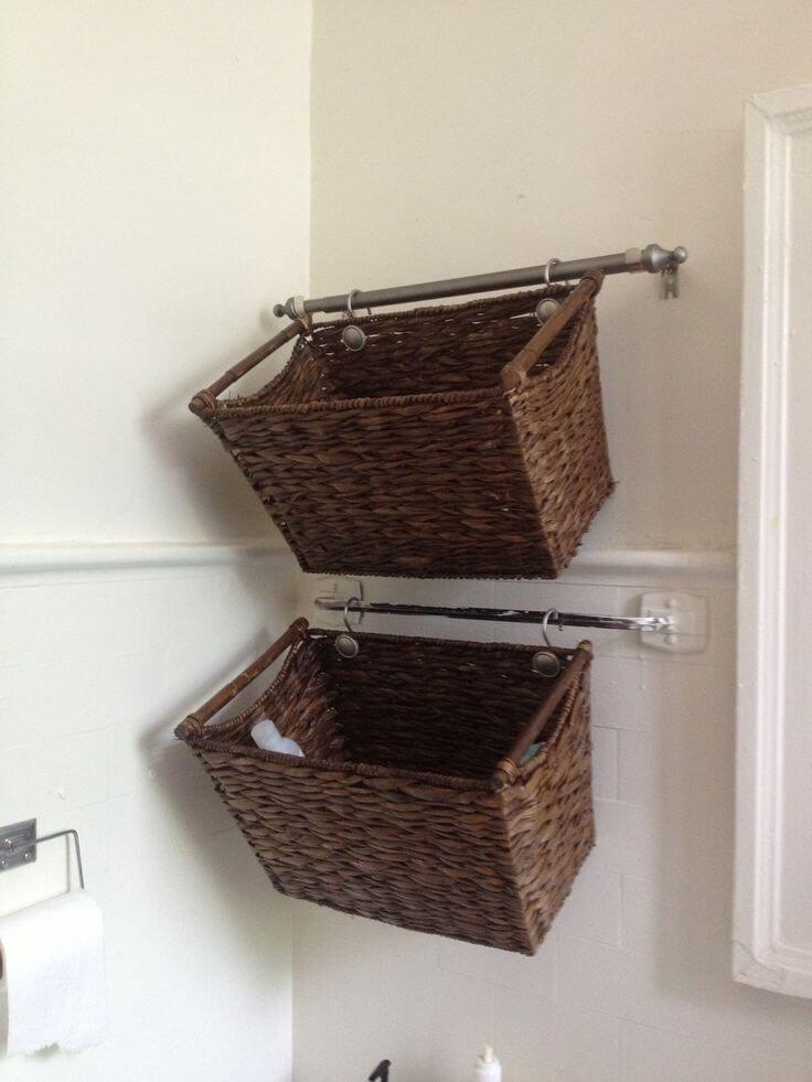 45 Hanging Bathroom Storage Ideas For Maximizing Your Bathroom Space Bathroom Basket Storage Bathroom Baskets Wall Basket Storage