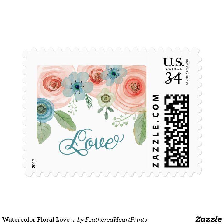 Watercolor Floral Love Postage Stamp