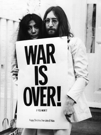 "1971: War is Over, If You Want It After his bed-ins in 1969, Lennon became a principal leader in the anti-war movement. In 1971, he and Yoko released the single ""Happy XMas (War is Over)"" and paid for billboards and posters with the phrase ""War is Over"" to be distributed."