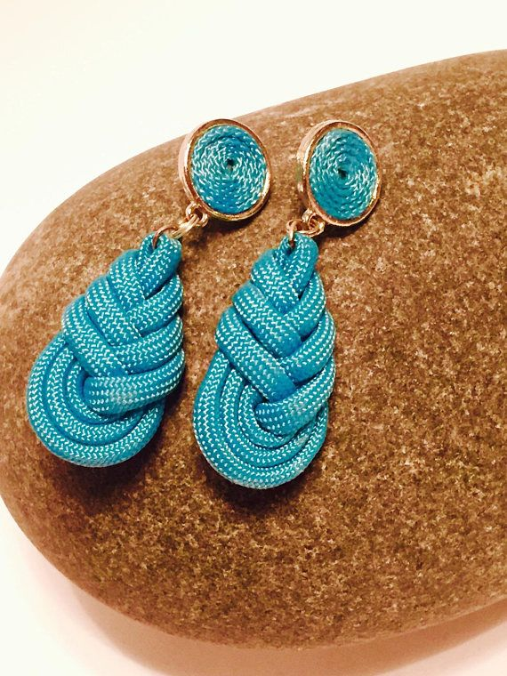 Boucles d'oreille goutte en corde turquoise paracorde