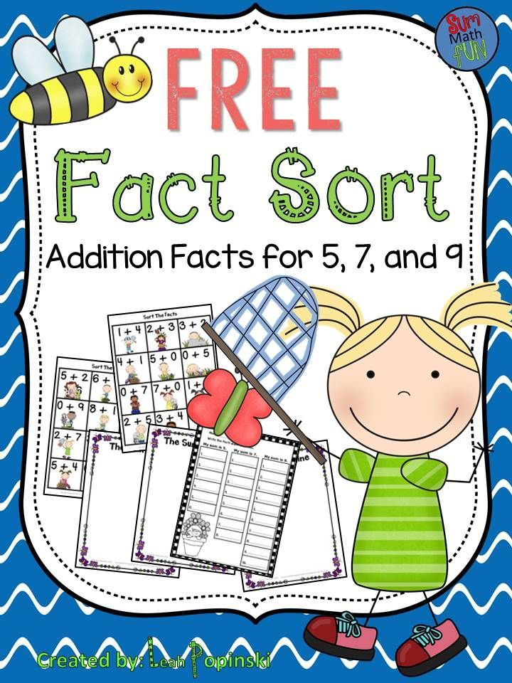 FREE Fact Sort These activities will help your students review addition facts for 5, 7, and 9 as they sort the cards onto the correct sum mat. Student recording sheet included.