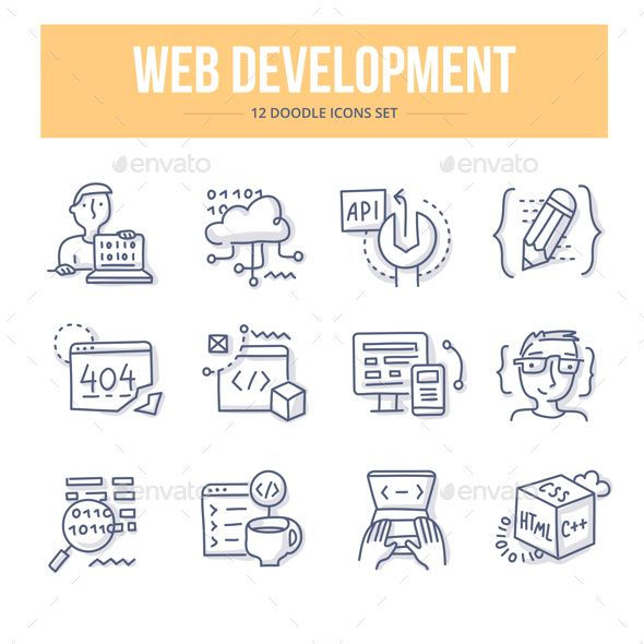 Web Development Doodle Icons – Technology #Icons Download here: graphicriver.net/…