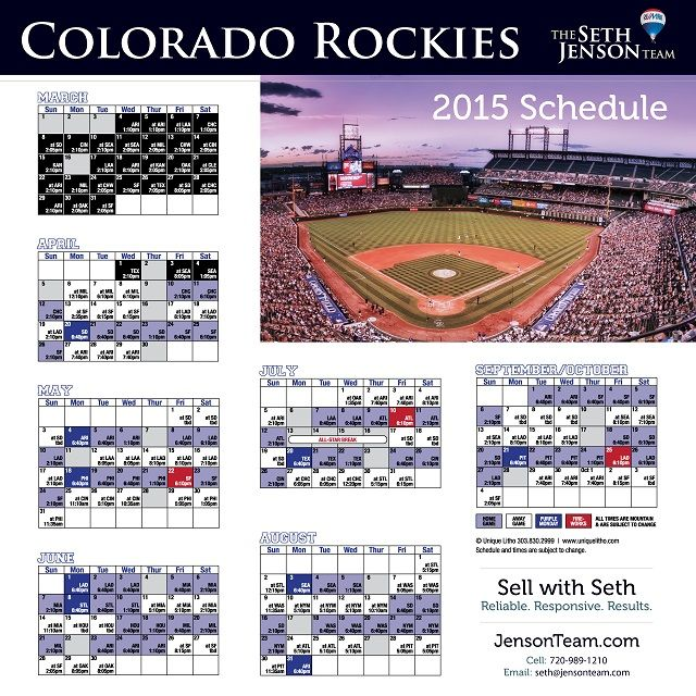 Here is the new game schedule for your Colorado Rockies. Nothing like rooting for your favorite baseball team with a hot dog in one hand, peanuts in the other, and some good old-fashioned cheer!