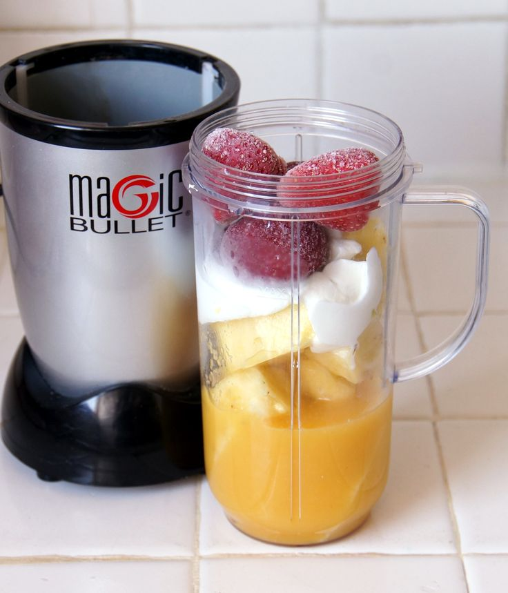 Pineapple Strawberry Smoothie!!! Ingredients 1 cup frozen strawberries 1 cup freshly chopped pineapple cubes 1/2 cup orange juice 1/2 cup plain greek yogurt 1 tbsp honey Add all ingredients to a Magic Bullet cup and blend well