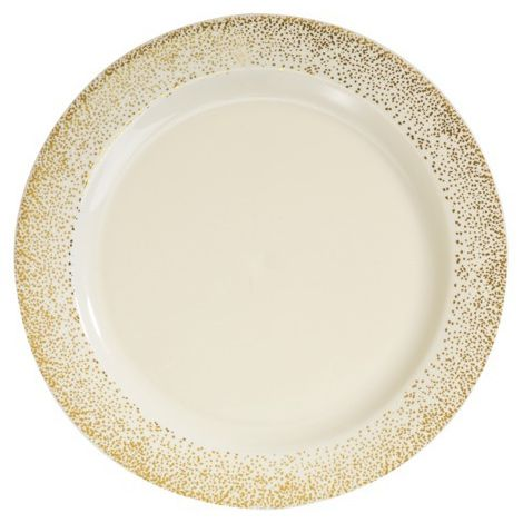 01047 10.25 Inch Ivory Gold Mist Plastic Dinner Plates. 120 Plates For $107