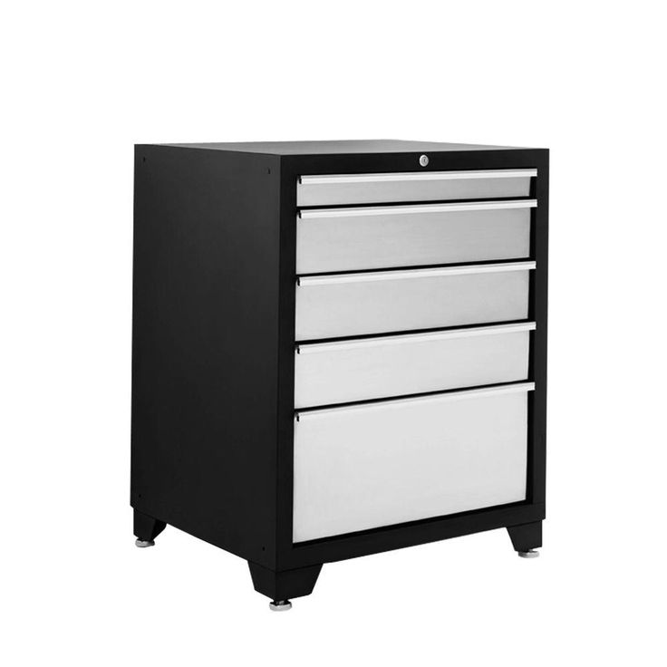 Pro Stainless Steel Series 35 in. H x 28 in. W x 24 in. D 5-Drawer Tool Chest in Silver, Silver/Grey