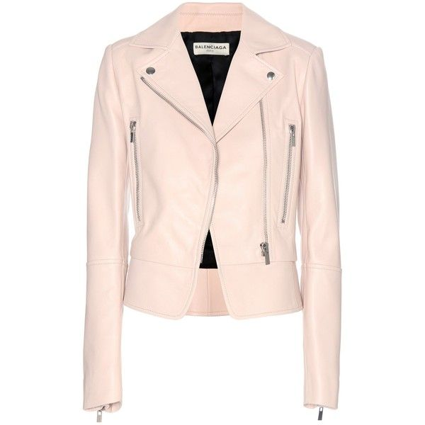 Balenciaga Leather Biker Jacket ($3,360) ❤ liked on Polyvore featuring outerwear, jackets, balenciaga, coats, leather jacket, pink, leather rider jacket, moto jacket, biker jacket and light pink leather jacket