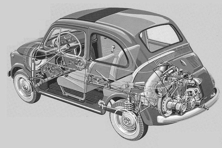 cutaway drawing fiat 500