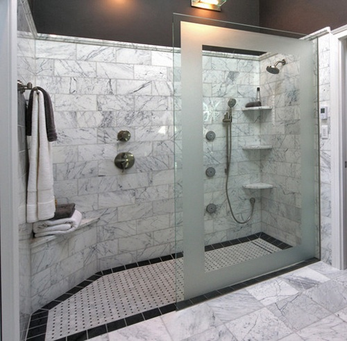Small Bathroom Doorless Shower Ideas: Half Wall In Stone